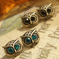 Cute Owl Crytal Fashion Earrings Set (2 Pairs) | LilyFair Jewelry