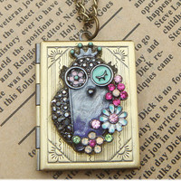 Steampunk Owl (0510b) Locket Necklace Vintage Style Original Design