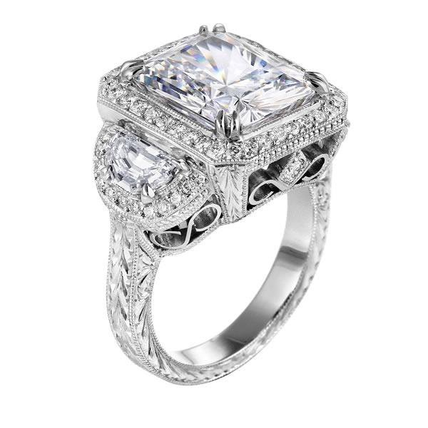 Engagement Ring Square Diamond Vintage from MDC Diamonds