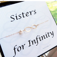 ON SALE Sisters for infinity card with gold infinity bracelet, pearl bracelet, Gold figure eight, friendship bracelet, sister bracelet