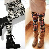 Fashion Womens Glis Snow Crystal Pattern Knitted Leggings Tights Trousers Q115