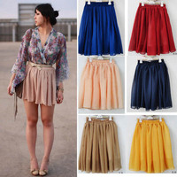 Fashion Retro High waist Pleated double layer chiffon Short Mini Pompon Dress