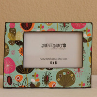 4x6 Decoupage Photo Frame- Tabletop or Wall Wood Bright Color Personalized