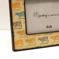 4x6 Wood Photo Frame Cows