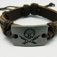hipster jewelry leather bracelet  pirate boat peaceful brown Adjustable  with wooden bead and hollowed tube  Wristband Mens Womens