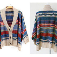 Fashion Women Casual Tribal Oversized Knitted Batwing Cardigan Sweater Poncho