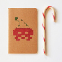 8 Bit Holiday Santa Gaming moleskine, videogame christmas journal (sketch), geek stocking stuffer