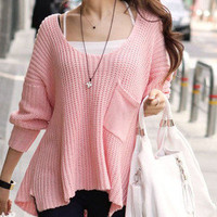 Pink Lady's Round Neck Knit Pullover Loose Sweater Casual Coat 2012 Autumn Style