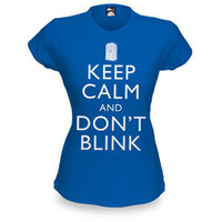 Keep Calm and Don't Blink Fitted Ladies' Tee - Royal Blue,