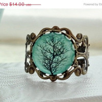 CYBER MONDAY SALE- Aqua Tree Filigree Statement Ring
