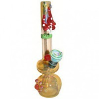 Glass Mini Bubbler - Gold Fumed with Color Artwork - Colored Glass Bongs - Glass Bongs - Bongs and Waterpipes - Smoking Pipes - Grasscity.com