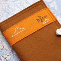 $25.00 Felt Passport Case Embroidered Brown Jet by JennMaruskaDesign