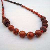 red tribal necklace  jasper wood bone lava glass by BeaKez on Etsy