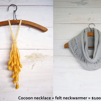 Cyber Monday DEALS Grey neckwarmer and Cocoon necklace - Ready to ship-
