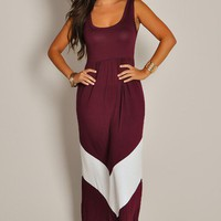 Cute Sleeveless Burgundy Empire Waist Maxi Dress