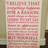 Wood Sign Quote 12&quot;x16&quot; - &quot;Everything Happens&quot; Marilyn Monroe