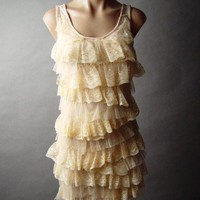 Blush Antique-y Tea Lace Tiered Ruffle Romantic 20s Lingerie Style Slip Dress M