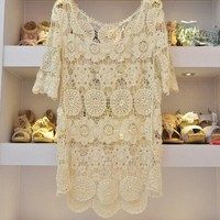 CROCHET LACE WOMEN KNIT TOPS OUTERWEAR SHIRT SIZE M