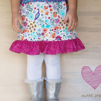 Girls Skirt,  Girls Ruffle Skirt, Pink Girls Skirt Childrens Clothing, Toddler Skirt, Color Block Skirt