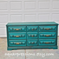 Teal Vintage Dresser/ Bright Buffet/ Bedroom Furniture/ Distressed /Vintage Drawer Pulls/ TV Stand/ Storage/ Dining Room Furniture