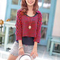 Navy Stripe Red Bowtie Adorned T-shirts : Wholesaleclothing4u.com
