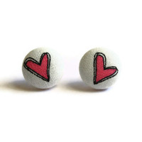 Pink Heart Print Fabric Covered Button Earrings