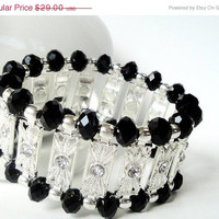 Holiday Special 15% OFF Black Crystals With Silver Connectors Elastic Bracelet/ Black Crystal Stretchy Bracelet