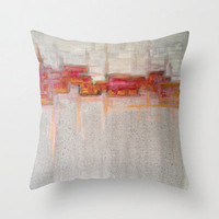 PiLLOW COVER - abstract painting - contemporary fine art - modern decor - red gold grey