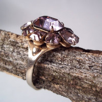 VINTAGE 1970s Lavender Amethyst Ring Light Purple Sparkly Ring Costume Jewelry Adjustable