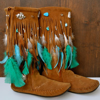 HOLIDAY SALE AMADAHY Forest Water Bohemian Upcycled Embellished Vintage Moccasin Fringe Boots Size 8.5