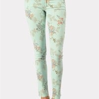Dainty Flower Print Jean - Mint at Necessary Clothing