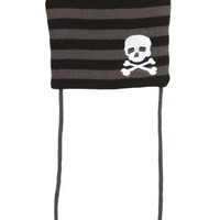Black & Gray Striped Skull Pom Pom Beanie
