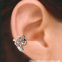 Art Nouveau silver ear cuff earring jewelry -  non pierced Right flower and leaf earcuff  090912