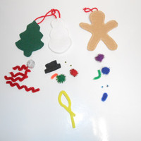 DIY Felt Ornament Craft Kit - Christmas Tree - Snowman, Gingerbread Man