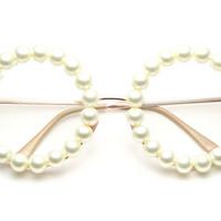 CC Pearl Large Round Clear Lens glasses (Pearl/Gold)