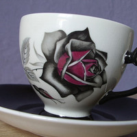 vintage gothic rose tea cup and saucer set, Royal Grafton English bone china tea set, black red white