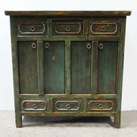 Side Cabinet Green 6 Drawer 4 Door