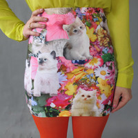 Kitty Garden Party Mini Skirt. Made to order