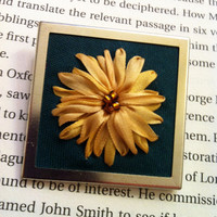 Embroidered Sunflower Beaded Brooch  Silk by BeanTownEmbroidery