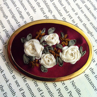 Embroidered Roses Burgundy Brooch  Silk by BeanTownEmbroidery