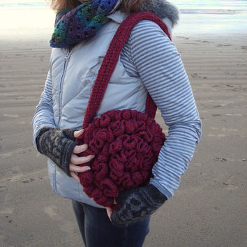 Ruffled Shoulder Bag Crochet Pure Wool Handmade in Ireland