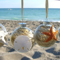 Christmas Ornaments-Set of 4 Sea Life Collection-Starfish Ornaments, Sand Dollar Ornament, Coastal Holidays, Gift Ideas, Beach Home Decor