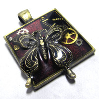 Antique Gold Butterfly Steampunk Square Resin Pendant