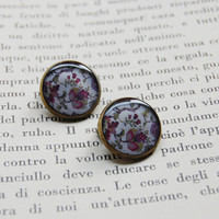 Retro Floral Fantasy - Handmade Vintage Cameo Clip-On Earrings