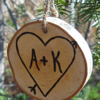 First Christmas Ornament Personalized Couples Wedding Gift  Rustic Wood Branch Ornament