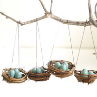 Nest Holiday Ornaments Christmas, Blue Eggs Tree Decorations natural nature inspired handmade eco friendly Home Decor Robins Turquoise