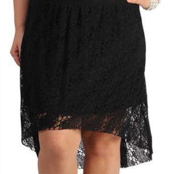 plus size black lace high low skirt from deb shops