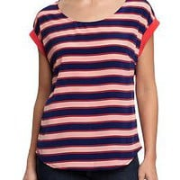 Women's Striped Crepe Roll-Cuff Tops | Old Navy