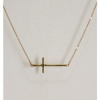 Thin Cross Necklace - Gold