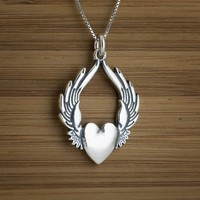 Flying Heart Pendant - STERLING SILVER